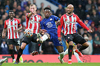 Callum Hudson Odoi of Chelsea under pressure from Southampton's James Ward Prowse and Nathan Redmond during Chelsea vs Southampton, Premier League Football at Stamford Bridge on 2nd October 2021