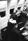 Somewhere over South Carolina.USA.January 27, 2004..Just after the New Hampshire primary results General Wesley Clark falls a sleep in his airplane after campaigning two days straight. He is on his way to begin campaiging in Tulsa, Oklahoma the next morning.