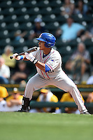St. Lucie Mets outfielder Victor Cruzado (18) squares to bunt during a game against the Bradenton Marauders on April 12, 2015 at McKechnie Field in Bradenton, Florida.  Bradenton defeated St. Lucie 7-5.  (Mike Janes/Four Seam Images)