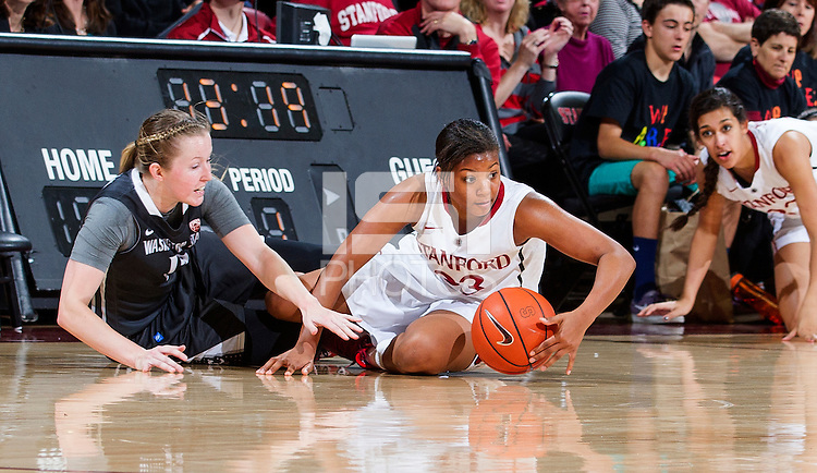 Stanford's Amber Orrange, scrambles for a loose ball during Stanford women's basketball  vs Washington State at Maples Pavilion, Stanford, California on March 1, 2014.
