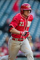 Nebraska Cornhuskers outfielder Ryan Boldt (21) runs to first base during Houston College Classic against the Texas A&M Aggies on March 6, 2015 at Minute Maid Park in Houston, Texas. Texas A&M defeated Nebraska 2-1. (Andrew Woolley/Four Seam Images)