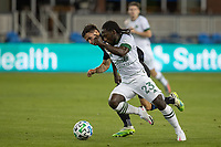 SAN JOSE, CA - SEPTEMBER 16: Yammi Chara #23 of the Portland Timbers & Paul Marie #33 of the San Jose Earthquakes battle for the ball during a game between Portland Timbers and San Jose Earthquakes at Earthquakes Stadium on September 16, 2020 in San Jose, California.