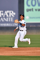 Asheville Tourists  second baseman JC Correa (11) reacts to the ball during a game against the Hickory Crawdads on July 21, 2021 at McCormick Field in Asheville, NC. (Tony Farlow/Four Seam Images)