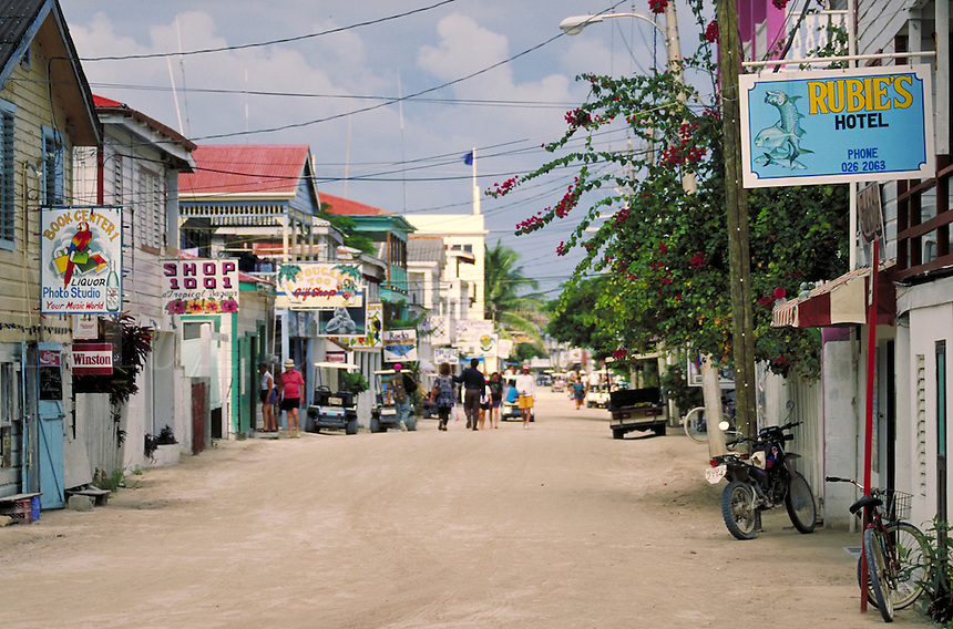 Sand covered streets of San Pedro on the island of Ambergris Caye, Belize. San Pedro Ambergris Caye Belize Central America.