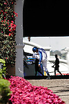 David Flores before walking into the paddock for the Pat O'Brien Stakes at Del Mar Race Course in Del Mar, California on August 26, 2012.