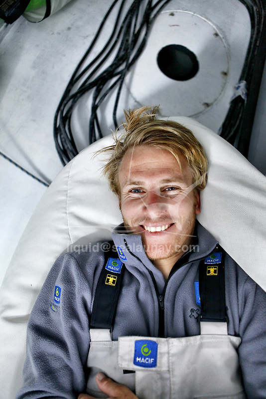 Onboard the IMOCA Open 60 Macif crewed by Francois Gabart and Michel Desjoyeaux during a training session before the Transat Jacques Vabre in the English Channel from Plymouth to Port la Foret after she won on her class the Rolex Fastnet Race.