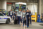 Apr. 5, 2014; Notre Dame Fighting Irish women's basketball team enter Bridgestone Arena for practice in Nashville, Tenn. Notre Dame Fighting Irish square off against Maryland Terrapins Sunday night in the national semifinal of the NCAA Final Four tournament.  Photo by Barbara Johnston/University of Notre Dame