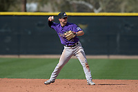Colorado Rockies second baseman Max George (3) during a Minor League Spring Training game against the Los Angeles Angels at Tempe Diablo Stadium Complex on March 18, 2018 in Tempe, Arizona. (Zachary Lucy/Four Seam Images)