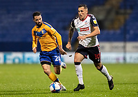 Bolton Wanderers' Antoni Sarcevic breaks under pressure from Mansfield Town's Stephen McLaughlin (left) <br /> <br /> Photographer Andrew Kearns/CameraSport<br /> <br /> The EFL Sky Bet League Two - Bolton Wanderers v Mansfield Town - Tuesday 3rd November 2020 - University of Bolton Stadium - Bolton<br /> <br /> World Copyright © 2020 CameraSport. All rights reserved. 43 Linden Ave. Countesthorpe. Leicester. England. LE8 5PG - Tel: +44 (0) 116 277 4147 - admin@camerasport.com - www.camerasport.com