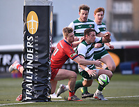 20th February 2021; Trailfinders Sports Club, London, England; Trailfinders Challenge Cup Rugby, Ealing Trailfinders versus Doncaster Knights; Steven Shingler of Ealing Trailfinders and Howard Packman of Doncaster Knights compete to touch the ball down