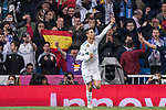 Cristiano Ronaldo of Real Madrid celebrates after scoring his goal during the UEFA Champions League 2017-18 match between Real Madrid and Tottenham Hotspur FC at Estadio Santiago Bernabeu on 17 October 2017 in Madrid, Spain. Photo by Diego Gonzalez / Power Sport Images
