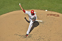 10 October 2012: Washington Nationals pitcher Edwin Jackson on the mound during Postseason Playoff Game 3 of the National League Divisional Series against the St. Louis Cardinals at Nationals Park in Washington, DC. The Cardinals shut out the Nationals 8-0 in the third game of their best of five series, giving St. Louis a 2-1 lead in the playoff. Mandatory Credit: Ed Wolfstein Photo