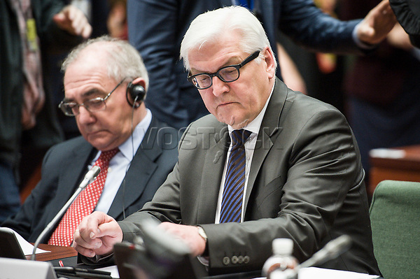 German Foreign Minister Frank Walter-Steinmeier    prior to the European Union Foreign Ministers Council at EU headquarters  in Brussels, Belgium on 29.01.2015 Federica Mogherini , EU High representative for foreign policy called extraordinary meeting on the situation in Ukraine after the attack on Marioupol.  by Wiktor Dabkowski