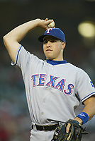 Mark Teixeira of the Texas Rangers during a 2003 season MLB game at Angel Stadium in Anaheim, California. (Larry Goren/Four Seam Images)
