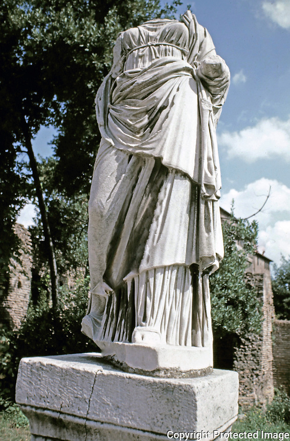 Headless female statue from a Roman funerary monument from the remains of the Terme di Diocleziano (Baths of Diocletian), Rome, Italy