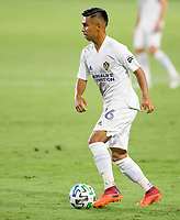 CARSON, CA - OCTOBER 07: Efrain Alvarez #26 of the Los Angeles Galaxy moves with the ball during a game between Portland Timbers and Los Angeles Galaxy at Dignity Heath Sports Park on October 07, 2020 in Carson, California.