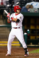 Jose Garcia (3) of the Springfield Cardinals at bat during a game against the Northwest Arkansas Naturals on May 13, 2011 at Hammons Field in Springfield, Missouri.  Photo By David Welker/Four Seam Images.