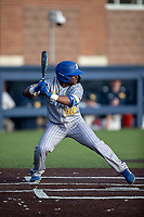 San Jose State Spartans outfielder Brandon Petersen (10) at bat against the Michigan Wolverines on March 27, 2019 in Game 2 of the NCAA baseball doubleheader at Ray Fisher Stadium in Ann Arbor, Michigan. Michigan defeated San Jose State 3-0. (Andrew Woolley/Four Seam Images)