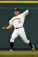 Bradenton Marauders outfielder Austin Meadows (13) warms up in between innings during a game against the Jupiter Hammerheads on April 17, 2015 at McKechnie Field in Bradenton, Florida.  Bradenton defeated Jupiter 11-6.  (Mike Janes/Four Seam Images)