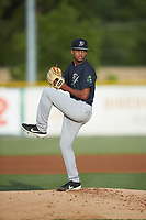 Pulaski Yankees starting pitcher Randy Vasquez (47) in action against the Burlington Royals at Burlington Athletic Stadium on August 25, 2019 in Burlington, North Carolina. The Yankees defeated the Royals 3-0. (Brian Westerholt/Four Seam Images)