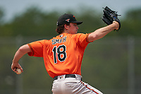 Baltimore Orioles pitcher Kevin Smith (18) during a Minor League Spring Training game against the Pittsburgh Pirates on April 21, 2021 at Pirate City in Bradenton, Florida.  (Mike Janes/Four Seam Images)