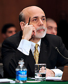 Federal Reserve Chairman Ben Bernanke testifies before the United States Senate Banking, Housing and Urban Affairs Committee on the Humphrey-Hawkins Semiannual Monetary Policy Report, current economic conditions, and the outlook for the financial sector and the broader economy on Capitol Hill in Washington, D.C. on Thursday, February 25, 2010.  .Credit: Ron Sachs / CNP