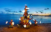 Fijian fire dancers on the beach. Shangri-La Fijian Fire dancers.