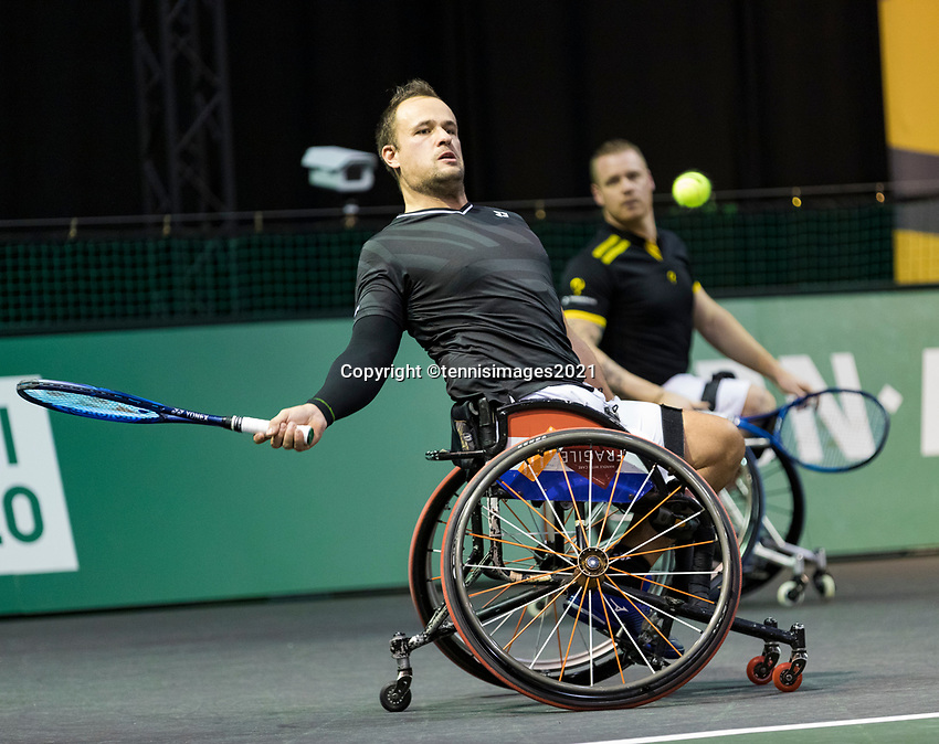 Rotterdam, The Netherlands,7 march  2021, ABNAMRO World Tennis Tournament, Ahoy,  <br /> Doubles Final Wheelchair: Tom Egberink (NED) / Maikel Scheffers (NED).<br /> Photo: www.tennisimages.com/henkkoster