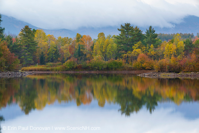 Reflection of autumn foliage in Coffin Pond in Sugar Hill, New Hampshire on a foggy autumn morning.