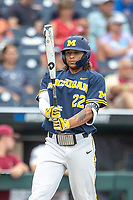 Michigan Wolverines outfielder Jordan Brewer (22) at bat during Game 6 of the NCAA College World Series against the Florida State Seminoles on June 17, 2019 at TD Ameritrade Park in Omaha, Nebraska. Michigan defeated Florida State 2-0. (Andrew Woolley/Four Seam Images)