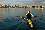 Seattle, skyline, rower, Lake Union, Ann Browning rowing a single scull on perfect water,.