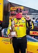 Shawn Langdon, top fuel, DHL, victory, celebration, trophy