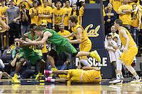 BERKELEY, CA - February 22, 2017: Cal Bears Men's Basketball team vs. the Oregon Ducks at Haas Pavilion. Final score, Cal Bears 65, Oregon Ducks 68.