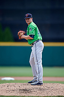 Gwinnett Stripers relief pitcher Jason Hursh (49) gets ready to deliver a pitch during a game against the Columbus Clippers on May 17, 2018 at Huntington Park in Columbus, Ohio.  Gwinnett defeated Columbus 6-0.  (Mike Janes/Four Seam Images)