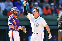 Third baseman Jonah Bride (20) of the South Carolina Gamecocks celebrates after hitting a home run in the Reedy River Rivalry game against the Clemson Tigers on Saturday, March 4, 2017, at Fluor Field at the West End in Greenville, South Carolina. Clemson won, 8-7. (Tom Priddy/Four Seam Images)