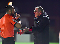 Brugge's head coach Leo Van Der Elst pictured in a discussion with assistant referee Antonio Restaino during a female soccer game between Sporting Charleroi and Club Brugge YLA on the fourth matchday of the 2020 - 2021 season of Belgian Scooore Womens Super League , friday 9 nd of October 2020  in Marcinelle , Belgium . PHOTO SPORTPIX.BE | SPP | DAVID CATRY