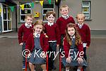 Junior infants of Scoil An Ghleanna NS on Tuesday, seated l to r: Isabelle Ní Bhrosnacháin and Sadhbh Ní Mhainnín. Back l to r: Seán Terry, Jack Terry, Aidan Ó Fainín and Fintan Ó Fainín