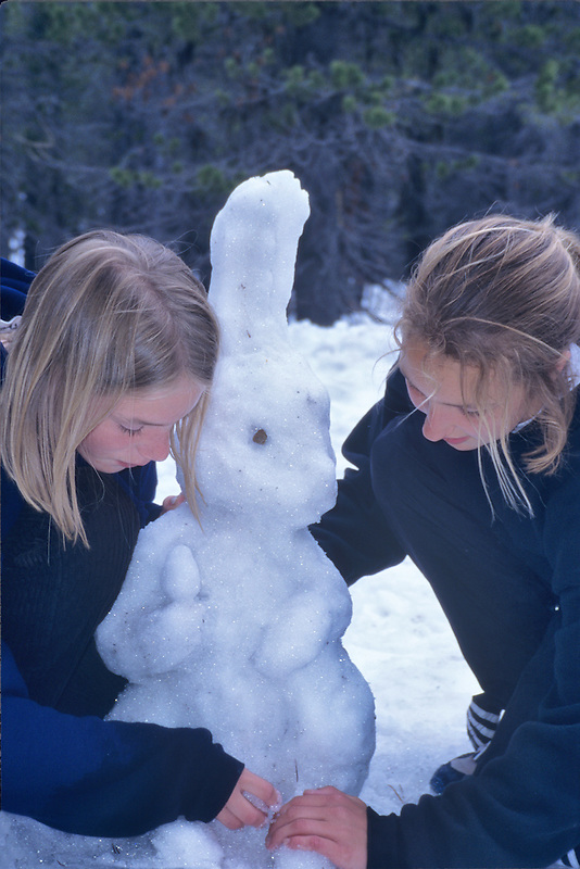 Fifth grade students making snow bunny. Cascade Science School, Oregon.