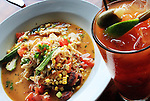 Tues 06, July 10 (jssweet2) Photo by Justin Shaw Low Country Chicken Jambalaya, Local Okra, Benton Country Ham and Basmati Rice $14, Bloody Mary $7 at Sweet Grass.