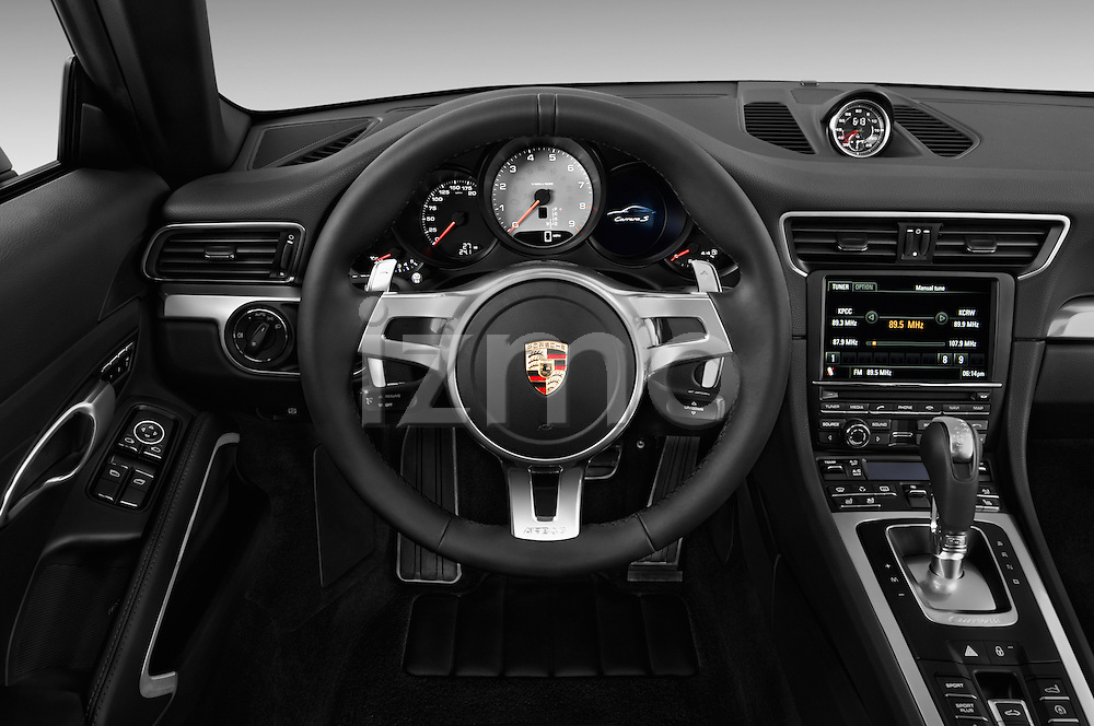 Steering wheel view of a 2012 Porsche Carrera S Coupe