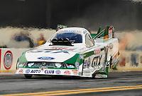 Feb. 24, 2011; Pomona, CA, USA; NHRA funny car driver Mike Neff during qualifying for the Winternationals at Auto Club Raceway at Pomona. Mandatory Credit: Mark J. Rebilas-