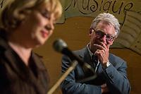 Gilles Proulx<br />  preesente la candidate pequiste Sophie Stanke, mars 2014.<br /> <br /> PHOTO : Agence Quebec Presse <br /> - Denis Germain