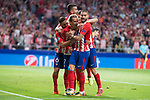 Atletico de Madrid's Filipe Luis, Antoine Griezmann, Yannick Carrasco and Angel Martin Correa and Koke Resurreccion celebrating a goal during UEFA Champions League match between Atletico de Madrid and Chelsea at Wanda Metropolitano in Madrid, Spain September 27, 2017. (ALTERPHOTOS/Borja B.Hojas)