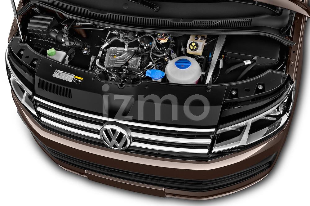 Car Stock 2016 Volkswagen Caravelle Comfortline 5 Door Minivan Engine high angle detail view