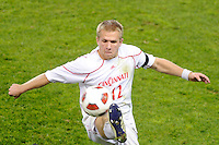 Branden Stelmak (12) of the Cincinnati Bearcats. The Providence Friars defeated the Cincinnati Bearcats 2-1 during the semi-finals of the Big East Men's Soccer Championship at Red Bull Arena in Harrison, NJ, on November 12, 2010.