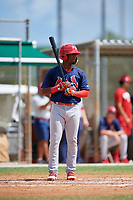 GCL Cardinals designated hitter William Jimenez (12) at bat during a game against the GCL Marlins on August 4, 2018 at Roger Dean Chevrolet Stadium in Jupiter, Florida.  GCL Marlins defeated GCL Cardinals 6-3.  (Mike Janes/Four Seam Images)