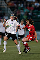 Nikki Marshall (27) of the magicJack and Whitney Engen (23) of The Western New York Flash during the second half.  The Western New York Flash defeated the magicJack 3-0 in Women's Professional Soccer (WPS) at Sahlen's Stadium in Rochester, NY May 22, 2011.