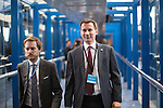 © Joel Goodman - 07973 332324 . 04/10/2016 . Birmingham , UK . JEREMY HUNT crossing from hotel to conference centre on the third day of the Conservative Party Conference at the International Convention Centre in Birmingham . Photo credit : Joel Goodman