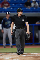 Home plate umpire Tyler White works the game between the Wilmington Blue Rocks and the Hudson Valley Renegades at Dutchess Stadium on July 27, 2021 in Wappingers Falls, New York. (Brian Westerholt/Four Seam Images)