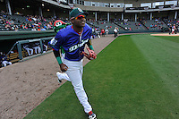 Center fielder Luis Alexander Basabe (19) of the Greenville Drive is introduced before a game against the Asheville Tourists on Sunday, April 10, 2016, at Fluor Field at the West End in Greenville, South Carolina. Greenville won 7-4. (Tom Priddy/Four Seam Images)